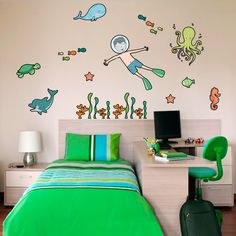 Underwater Wall Stickers, diving boy with octopus, turtle, dolphin and lots of other underwater creatures