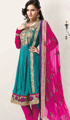 Artistic Turquoise Green And Pink Salwar Kameez  So pretty :3