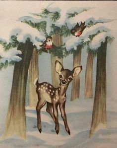 Vintage Christmas Card Cute Deer Fawn Snow Tree Forest Bird Bunny Rabbit A+ Christmas Deer, Christmas Past, Retro Christmas, Christmas Greetings, Christmas Card Pictures, Vintage Christmas Images, Antique Christmas, Vintage Greeting Cards, Vintage Postcards