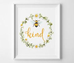 Wall Art Printable, Bee Kind watercolor, Floral print, Honeybee print, DIY wall art, statement print, 8 x 10in, be kind print, inspirational