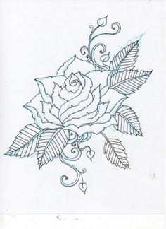 Neat idea for my gardenia tattoo (the leaves and scrolling and obviously not a rose)