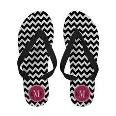 b68a5e31e7f46 Black White Chevron Zigzag Hot Pink Monogram Flip Flops  monogram  chevrons   flipflops