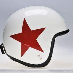 Jet In White Red Star, By Davida Helmets.