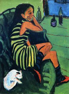 Ernst Ludwig Kirchner:  Artistin (1910) via The Athenaeum  via ALONGTIMEALONE.