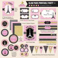 Girl's Paris Party Birthday -Pink, Black and Gold Glam - DIY Printable Party Pack