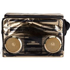 FYDELITY Jambox MP3 Speaker Cooler Bag in Gold - A fun way to store your brews and rock your jams! I would LOVE to have this for the river! It's so oldskool & newskool at the same time <3