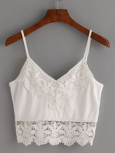 Crochet Trimmed Crop Cami Top - White
