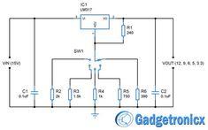 Multiple voltage power supply circuit diagram schematic to get output voltage of 12V, 9V, 6V, 5V and 3.3V . LM317 based adjustable voltage regulator project