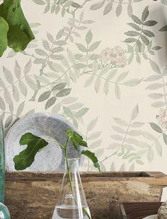 Wallpaper Gelja Matt Leaf tendrils Blossoms Grey white Beige brown Shades of green Wallpaper Samples, Wall Wallpaper, Pattern Wallpaper, Shades Of Green, Brown Shades, Style Shabby Chic, Romantic Look, Color Pallets, Plant Decor
