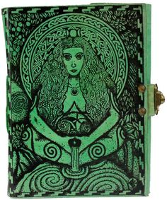 """Bound in hand-stitched, green dyed leather, this book displays two images of the Goddess, portraying her as both the nurturing mother of life and the vengeful destroyer. Contains 280 unlined pages. 5"""""""