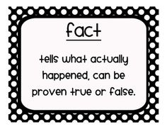 Polka dot fact and opinion anchor charts to hang in your classroom. These will help students remember the difference between facts and opinions.  ...