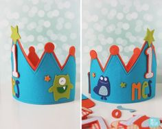 corona festa Custom Birthday felt crowns // by Melimelum Monster Party, Monster Inc Birthday, Monster High, Diy Birthday Crown, Leo Birthday, Birthday Crowns, Diy Bow, Diy Ribbon, Applique Disney