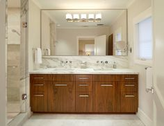 Bathroom,Luxurious White Background Swedish Bathroom Design With Charming  Brown Wood Vanity Cabinet Combined Beautiful