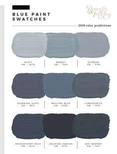 blue grey kitchens I've looked through the swatch books and have compiled the 2019 predicted paint colors post! If you're wondering what paint swatches will be popular in the year ah Paint Colors For Living Room, Paint Colors For Home, Wall Painting Colors, Blue Paint For Bedroom, Colors For Bathroom Walls, Blue Dining Room Paint, Paint Colors For Basement, Paint Colors For Office, Home Colors