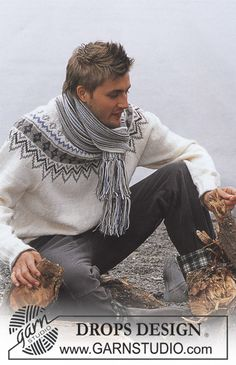 Ravelry: a Pullover in Karisma Superwash pattern by DROPS design Sweater Scarf, Pullover Sweaters, Men Sweater, Magazine Drops, Drops Design, Fair Isle Pattern, Fair Isle Knitting, Knit Fashion, Pulls