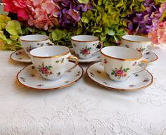 5 Vintage Winterling German Porcelain Cups & Saucers ~ Meissen Gardens ~ Gold #Winterling