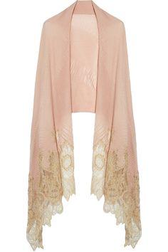 Valentino lace-trimmed cashmere shawl