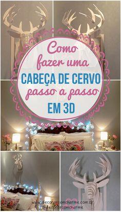 ⒹⒾⒸⒶ DIY - Cabeça de Cervo 3D Passo a Passo - Fica um charme, vem ver  #Natal #diy #façavocemesmo