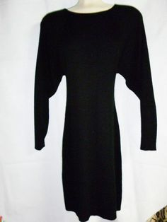 Knit Collections Curve Hugging LIttle Black Sweater Dress Long Sleeve Stretch S #knitcollections #StretchBodycon #LittleBlackDress