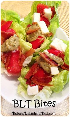 These fresh, crunchy and flavorful little BLT Bites contain a mixture of tomatoes, bacon, mozzarella and a balsamic pesto aioli that are sure to please as a prelude to a meal or a holiday party offering. They are quick to whip up and fast to disappear. (And, oh yes, low carb.)