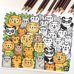 Lions and Tigers and Bears sketchbook drawing from Kate Hadfield #kawaiiart #coloring