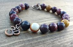 Mookaite Jasper with an Om by NidraBeads on Etsy Spiritual Jewelry, Jasper, Om, Jewelry Making, Beaded Bracelets, Trending Outfits, Beads, Unique Jewelry, Handmade Gifts