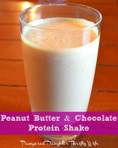 peanut butter & chocolate protein shake recipe In a blender I mixed  2 scoops of Chocolate Protein 2 spoonfuls of Peanut Butter 8 oz. Skim Milk a handful of ice cubes This was so easy and delicious. It's definitely a shake I'll make again!!