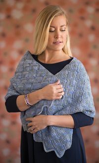 Hydrangea Wrap - A #wrap created with Tunisian crochet miters, from Love of #Crochet magazine