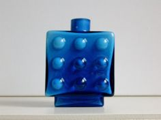 Space Age Friedrich blue cased glass vase, vintage, West Germany
