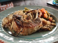 Pork Chops and Rice- sub chix or veggie broth and brown rice