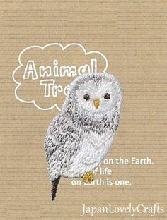 Owl Bird Patch, Animal Embroidered Iron On Patch, Japanese Kawaii Gray & White Bird Iron on Applique, Made Japan, Embroidery Applique, JapanLovelyCrafts