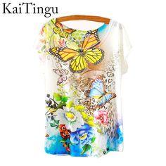 KaiTingu 2016 Brand New Fashion Summer Harajuku T Shirt Women Tops White Butterfly Print Short Sleeve T-shirt Drop Shipping