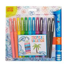 Paper Mate Flair Porous-Point Felt Tip Pen, Medium Tip, 12-Pack, Limited Edition Tropical Vacation Colors (1928605) Paper Mate http://www.amazon.com/dp/B00UHUJDCO/ref=cm_sw_r_pi_dp_nCBKvb1A2ARYZ