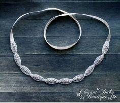 Beaded Rhinestone TieBack Headband Prom by ElegantMeBoutique, $18.95