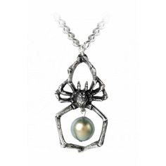 Glistercreep Pendant Necklace by Alchemy Gothic ($17) ❤ liked on Polyvore featuring jewelry, necklaces, pearl jewellery, pendant necklace, gothic pendants, pearl necklace pendant and pearl pendant