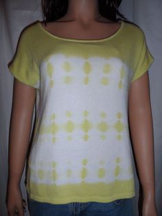 Work Shop Andrea Jovine Knit Top Size Medium Tie Dye Pullover Yellow Sweater  #KnitTop #Casual