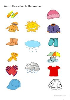 Match the clothes to the weather - English ESL Worksheets Weather Activities Preschool, Preschool Learning Activities, Kindergarten Worksheets, Teaching Weather, Kids Worksheets, Printable Worksheets, Seasons Worksheets, Weather Worksheets, Weather For Kids