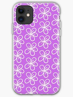 Romantic flower pattern in white on violet background. Be happy, be loud. Phone and pad cases. Violet Background, Romantic Flowers, Flower Patterns, Iphone Case Covers, Happy, Nature, Prints, Color, Design