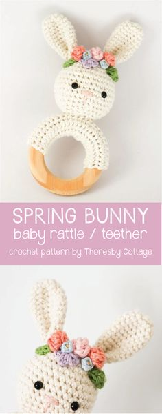Spring bunny with flower crown | Crochet rattle nursery decor
