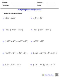 Adding and Subtracting Radical Expressions Worksheets | Math-Aids ...