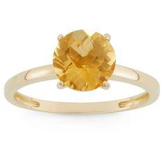2 Tcw Tiara Round-cut Citrine Ring in 10k Yellow Gold - (6), Women's