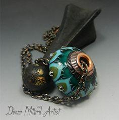 SRA HANDMADE LAMPWORK Glass Beads Pendant Necklace by Donna Millard