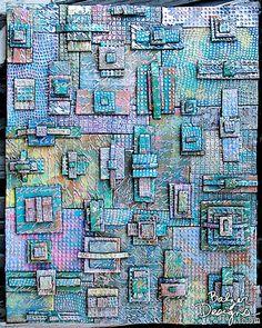Julie Fei-Fan Balzer's piece for the Ranger Designer Challenger 2014 Distress Paints Mixed Media Techniques, Art Techniques, Mixed Media Collage, Mixed Media Canvas, Altered Books, Altered Art, Design Tutorials, Art Tutorials, Metal Tape Art