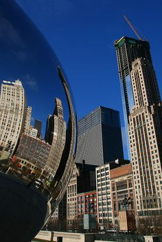 Chicago's Skyline reflects in the Bean, Millennium Park. I can't wait for this vacation....it is coming very soon!
