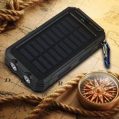 Portable Waterproof Solar Power Bank 2 USB External Solar Panel Charging Dual LED Light Compass