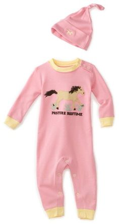 Hatley - Baby Girls Infant Running Horses Coverall And Hat, Rosewater, 18-24 Months Hatley - Baby