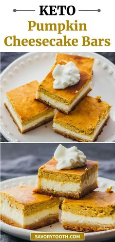 These healthy pumpkin cheesecake bars are layered with a bottom almond crust, a middle cheesecake layer, and a top pumpkin layer. This is a fantastic low carb, keto dessert recipe for holidays like Thanksgiving and Christmas.