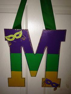Mardi Gras Door Hanger on Etsy, $12.00