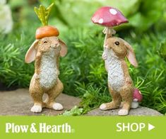 LIFE NEEDS MORE BUNNIES! Who can resist our set of Veggie Rabbit Garden Figures? These sweet bunnies add joy wherever you display them: garden, flower pot or even in your kitchen. One dons a carrot top hat, while the other holds a mushroom parasol. Fairy Statues, Garden Statues, Garden Sculpture, Outdoor Statues, How To Make Compost, Acid Loving Plants, Rabbit Garden, Fertilizer For Plants, Uses For Coffee Grounds