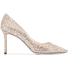 Jimmy Choo Romy 85 glitter embellished pumps (2.375 BRL) ❤ liked on Polyvore featuring shoes, pumps, metallic, high heel stilettos, slip-on shoes, pink leather pumps, leather pumps and pink glitter pumps